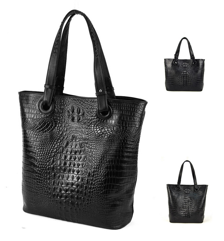 Women Genuine Real Leather Tote Shopper Handbag Shopping Bag Crocodile Alligator Purse Shoulder Cross Body Satchel Fashion Hobo 2016 fashion spring and summer crocodile pattern japanned leather patent leather handbag one shoulder cross body bag for women