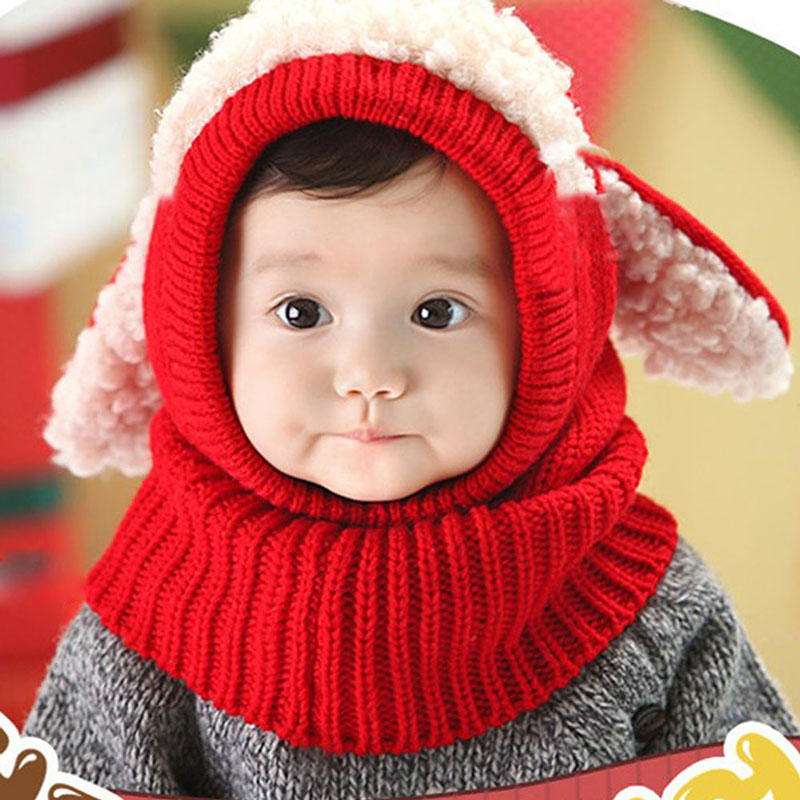 Winter Rabbit Ear Baby Hat Scarf Set kids Infant Toddler Girl Boy Beanie Caps Warm Baby Hat+Hooded Knitted Earflap Scarf Set