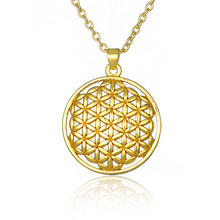 The Flower of Life Buddhist Necklace Long Chain Seed of Life Sacred Geometry Jewelry Fleur De Vie Yoga Namaste Necklace(China)