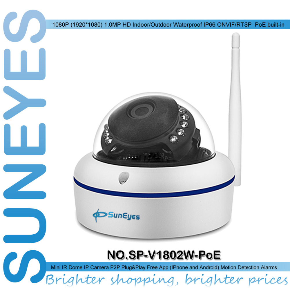SunEyes SP V1802W POE 1080P Full HD Mini Dome IP Camera Support Both POE and Wireless