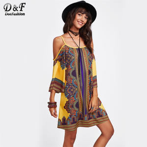 Dotfashion Print Summer Short Women 3 4 Sleeve Shift Dress 95b4eb894