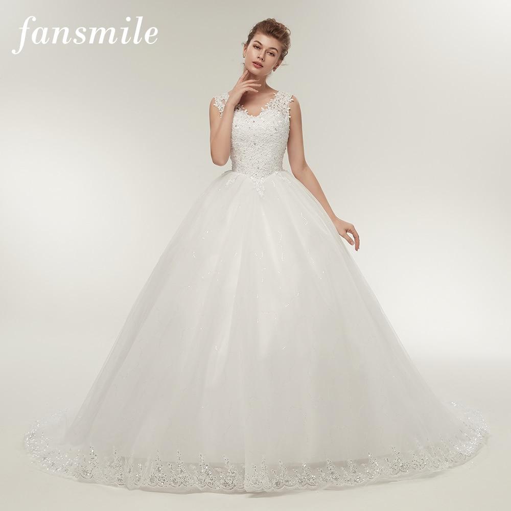 Fansmile Double Shoulder Long Train Lace Ball Wedding Dresses 2017 Bridal Dress Plus Size