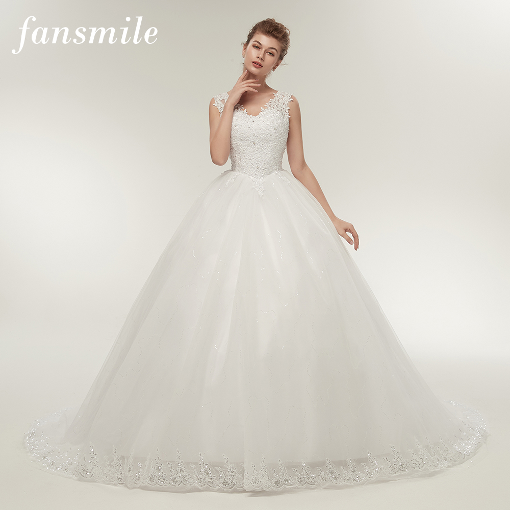Fansmile Double Shoulder Long Train Lace Ball Wedding Dresses 2020 Bridal Dress Plus Size Customized Gowns Real Photo FSM-008T