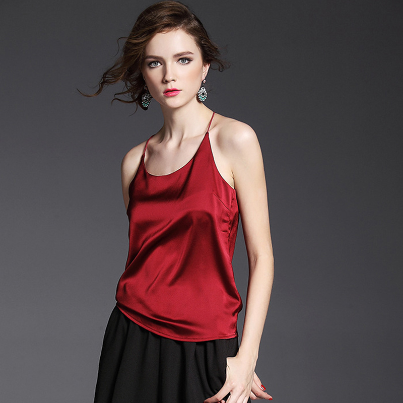New Summer Short Top Women Camis Rayon Satin Halter Female Camisole V-Neck Sexy Backless Sleeveless Vest Slim Loose Tops Mw250