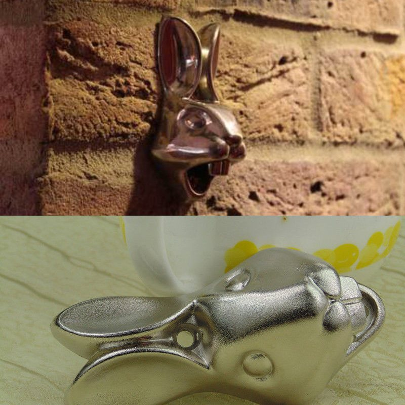 Fashion Creative Stainless Rabbit Iron Wall Mount Bar Beer Glass Bottle Cap Opener Screws Tool
