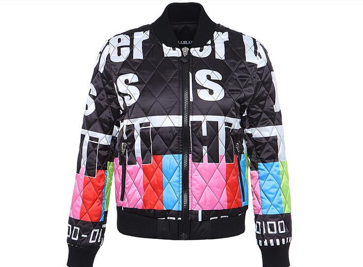 Зимняя утолщенная бейсбольная форма женская Европейская станция 2019 Новая модная брендовая куртка с буквенным принтом стеганая куртка