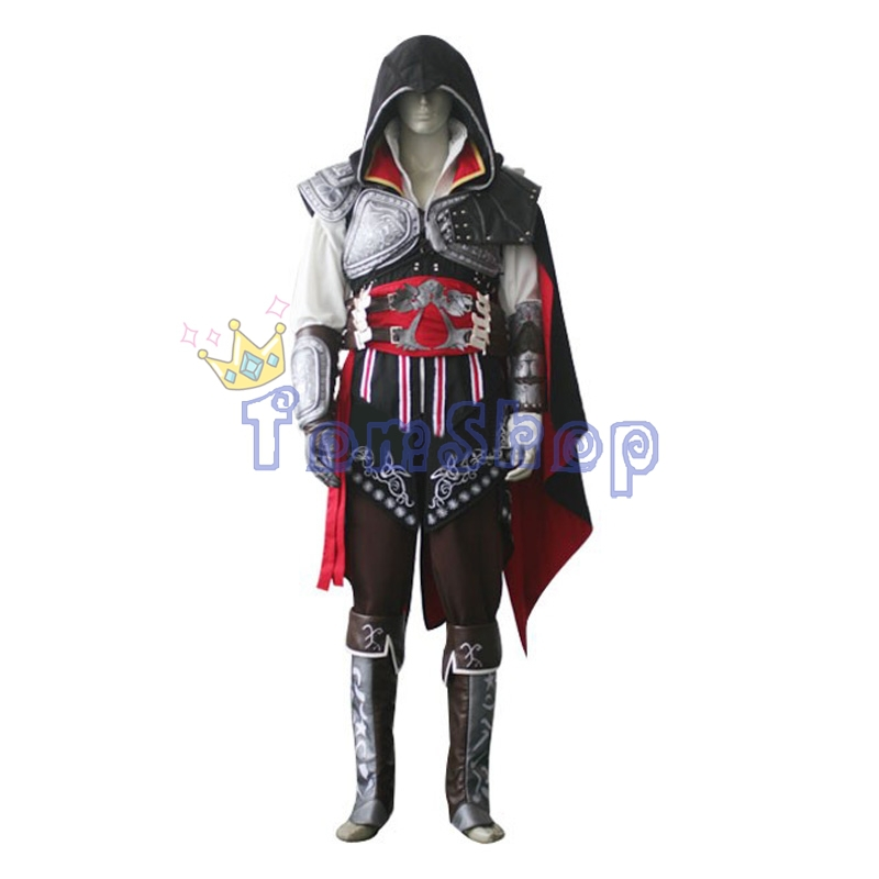 Hot Assassin's Creed II Ezio Black Edition Cosplay Uniform Suit Halloween Men Costumes Expedited Shipping