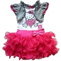 Высокое качество летние девушки привет котенок платье для девочек платье туту дети свободного покроя мода платье детской одежды