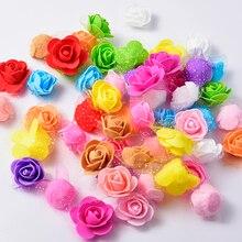 50Pcs 3.5cm PE Foam Rose Colorful Artificial Silk Flower Heads Use For Home Garden DIY Wreaths Wedding Decoration Supplies