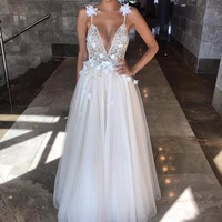 Beige Party Dresses Beaded Custom Made Designer Evening Gown A Line Elegant Evening Dress Tulle Flowers abiye gece elbisesi