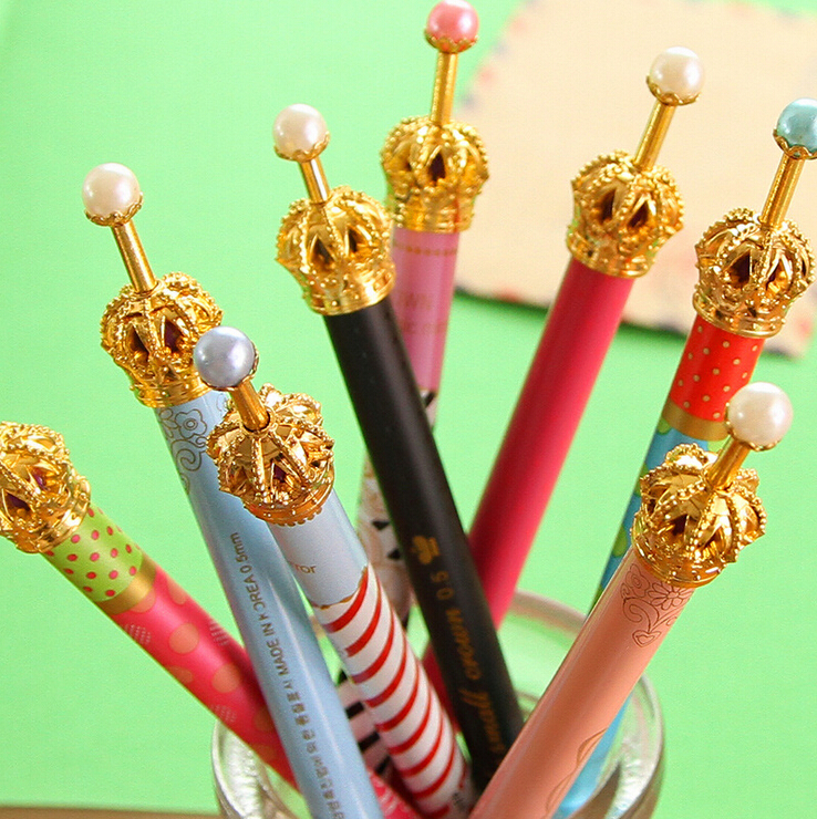 0.38mm Cute Kawaii Metal Crown gel Pen Dot Gel Pens for Writing Stationery School Office Supplies Free shipping