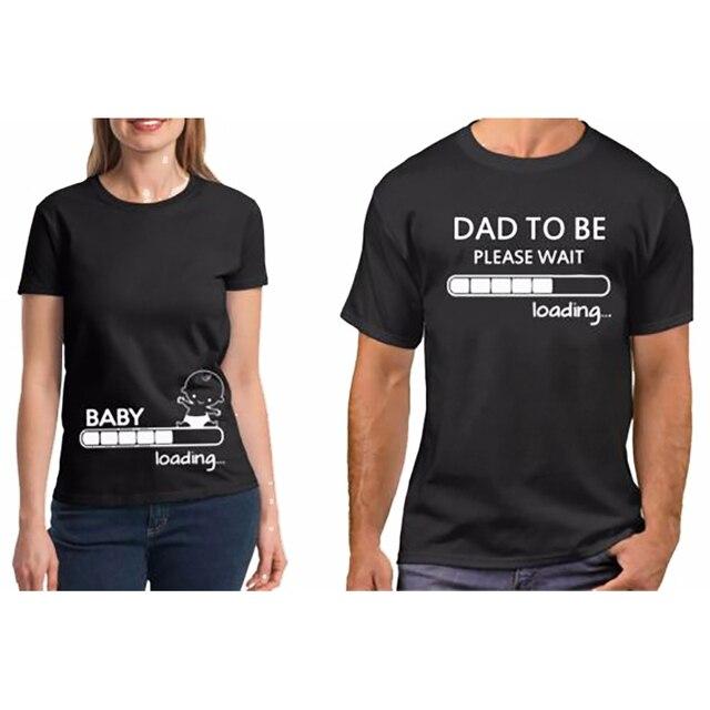 Casal Camiseta Casal Roupas de Algodão Puro Bebê Gravidez Carregamento Pai Para Ser Shirt Engraçado Dos Namorados Presente para O Pai TShirt plus Size