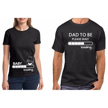 bccfa623f Pareja camiseta pareja ropa Algodón puro embarazo bebé carga papá para ser  camiseta divertida San Valentín regalo para papá camiseta plus tamaño