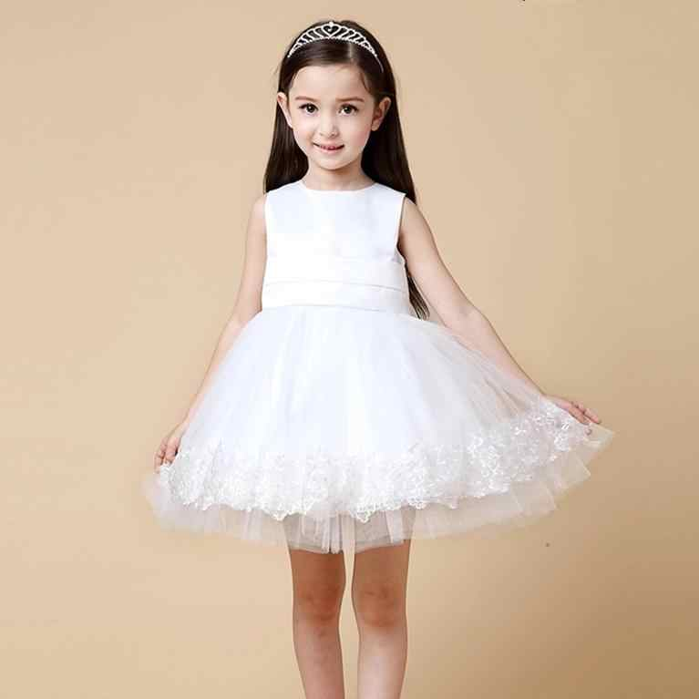 dee48fc873 HOT White Pink New Design Girls Dress Party Wear Vestidos Formal Big Bowknot  On Back For