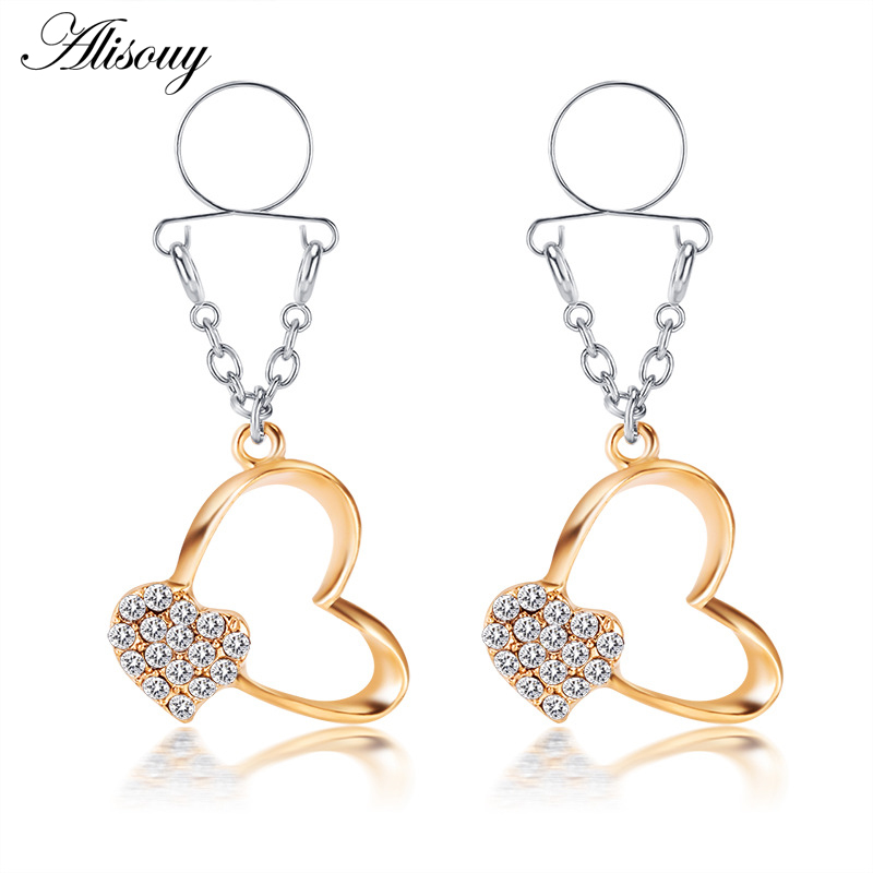 Alisouy 2 pçs/lote coração religioso nipple anéis falso piercing mulheres grampos de mamilo não-piercing clipe no mamilo pircing jóias do corpo