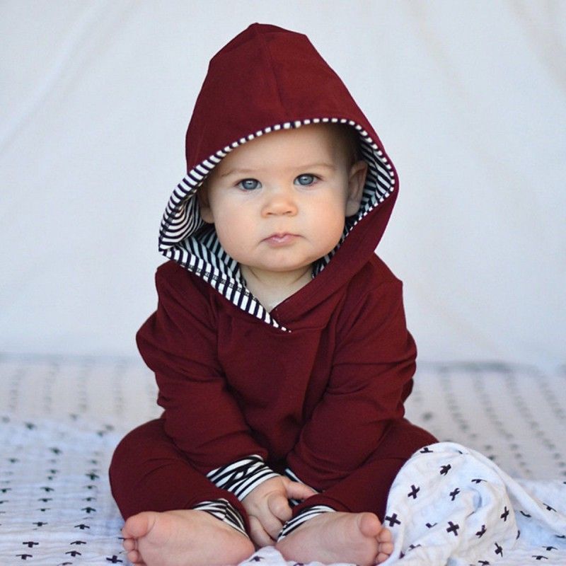 Newborns Baby Boys Girls Hooded Sweatshirts Tops Pants Outfits Suits Toddler Clothes Set Red Wine 2pcs
