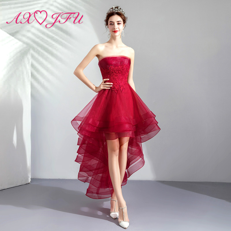 AXJFU flower red lace   evening   high/low   evening     dress   vintage bride strapless sleeveless dinner red   evening     dress   1066