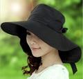 2015 Limitada Sólido Adultos Tropical Sombreros para Las Mujeres El Nuevo Coreano Uv del Sol de verano Gran sombrero de Ala Ancha Cool Caps Sombrero Y Protector Solar en Bicicleta