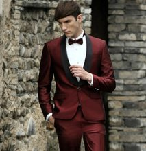 New Custom Design One Button Crimson Red Groom Tuxedos Best Man Groomsmen Men Wedding Party Suits burgundy Jacket+Pants+Tie(China)