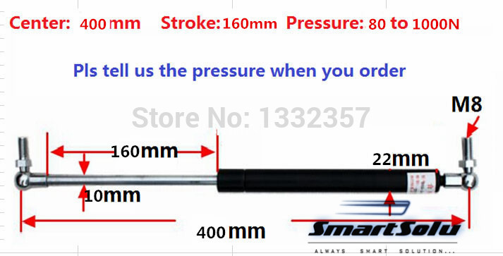 Free shipping 80 to 1000N force 400mm central distance, 160 mm stroke, pneumatic Auto Gas Spring, Lift Prop Gas Spring Damper spring 400