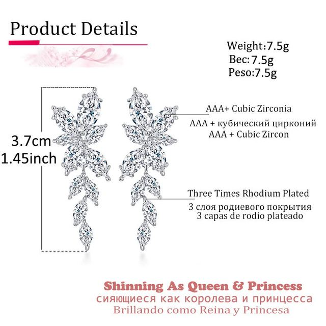 LXOEN Marquise Cut Flower Zirconia Crystal Long Drop Earrings for Women Shiny Leaf CZ Stone Bridal.jpg 640x640 - LXOEN Marquise Cut Flower Zirconia Crystal Long Drop Earrings for Women Shiny Leaf CZ Stone Bridal Wedding Jewelry
