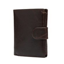 New Real Leather Wallet Men Organizer Wallets Vintage Genuine Cowhide Short Mens Purse With Coin Pocket