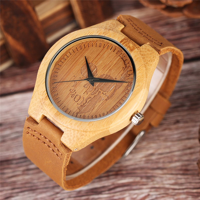 Image 2 - Luxury Wood Watch for Men Women Skull Pattern Creative Nature Wooden Wristwatch Modern Novel Leather Bangle Unisex Bamboo Clockwatch forwatches for menwatch pattern -