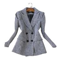 Women woolen Plaid Blazers Suit Ladies Autumn New Ladies' career plaid double breasted vintage woolen coat women suit jacket