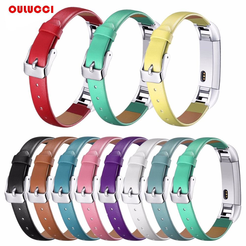 Luxury Genuine Leather Band Replacement Strap Bracelet for Fitbit Alta /Alta HR Tracker High Quality bracelet strap Black