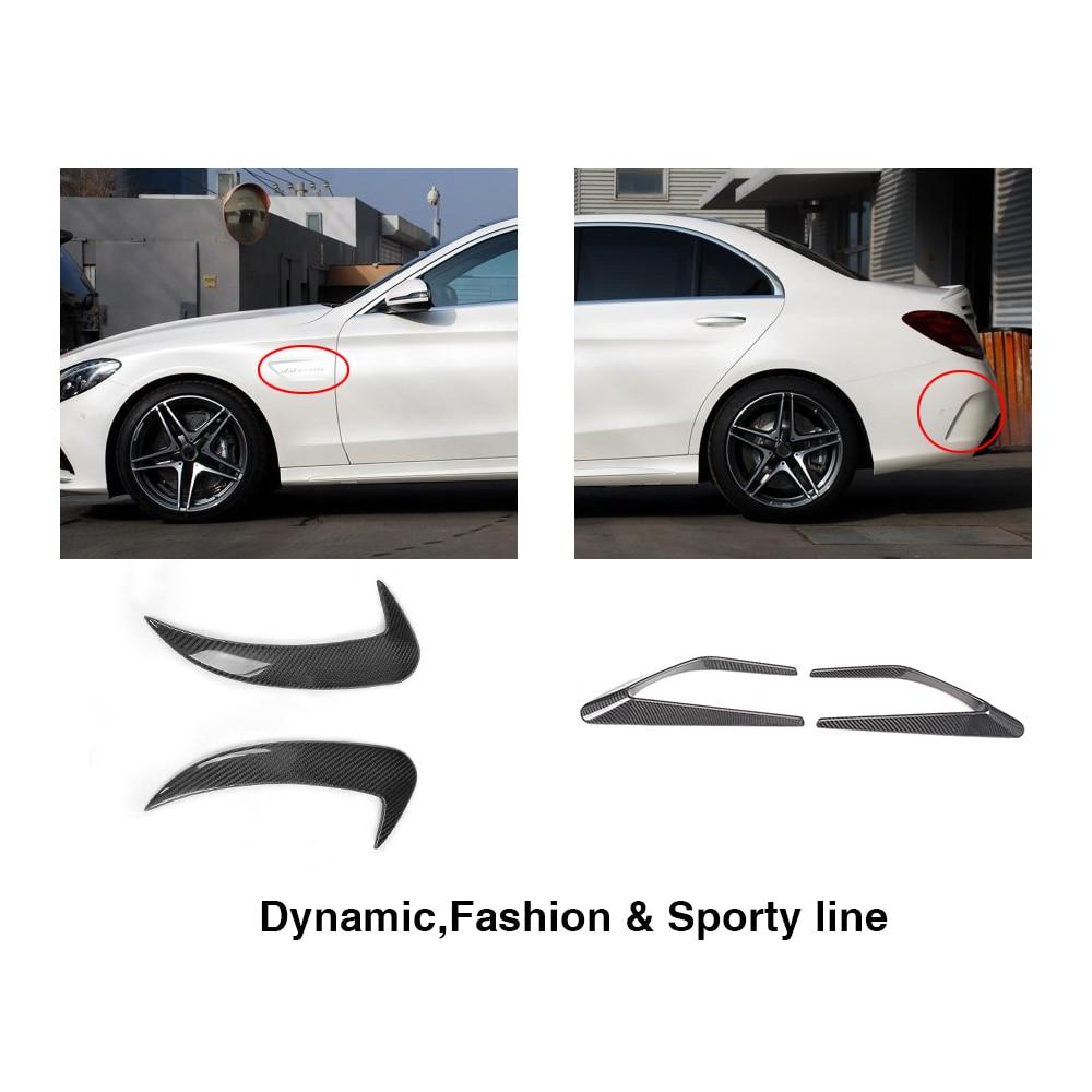 4 шт углеродное волокно передние крылья декоративные планки и задние ребра сплиттеры для Mercedes Benz c класс W205 C63 AMG 4 двери 2014 2017 - 4