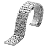 18 20 22mm Silver New 9 Beads Watch Band With Butterfly Buckle Wristwatch Strap GD0152