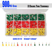Free Shipping 900pcs/set Insulated Terminal Tubular Connector Cord Pin End Cable wire Bootlace Ferrules kit for 22~12AWG(China)