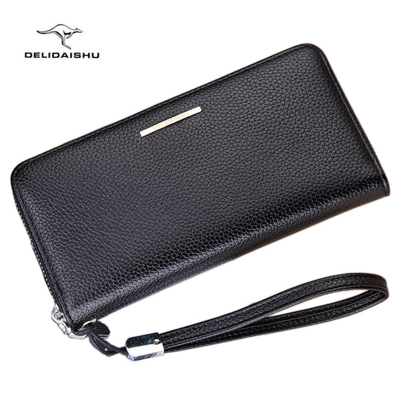 New kangaroo Men's leather wallet with strap high quality zipper wallets men famous brand long purse for male clutch phone bag new arrival famous brand men wallets quality top zipper purse fashion clutches wallet phone bag wallets free shipping s258