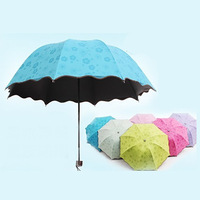 Umbrellas Rain Gear Household Merchandises Home & Garden none automatic umbrella three folding black coating anti UV 300 g 2016