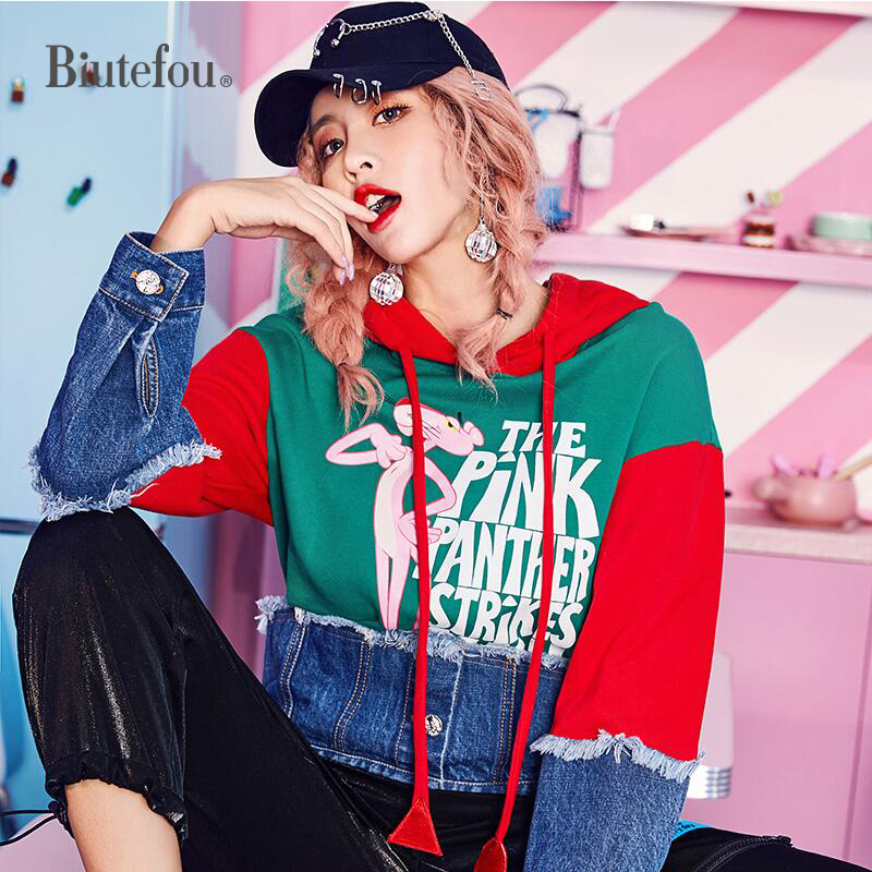 2018 Nouvelle arrivée automne denim patch designs shirts femmes mode couleurs contrastées cool sweats à capuche