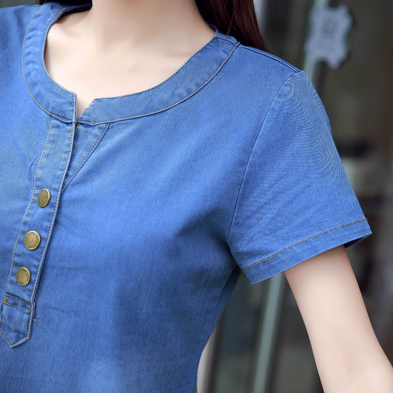 Korean denim dress for women 2019 new summer casual jeans dress with pocket slim Short sleeve Vintage denim dress plus size 3XL