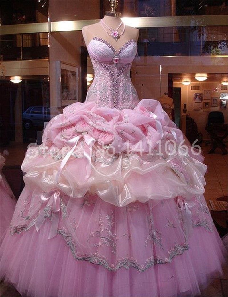 Big Fat Gypsy Wedding 2016 New Sweetheart Lovely Pink Tulle Ball