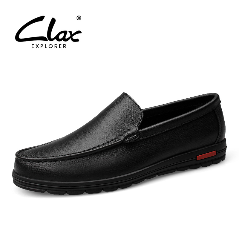 Clax Men's Black Dress Shoe Slip On Spring Summer Autumn Genuine Leather Business Formal Shoes for Male Wedding Shoes