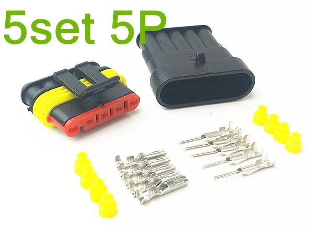 5 Set 5 Pin Female Male Way AMP Super Seal Waterproof Electrical ...