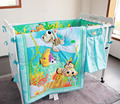Unisex Baby Bedding Set Cotton 3D Stereoscopic Ocean Fish Hippocampus Quilt Bumper Bed Skirt Fitted Urine Bag 7 Pieces Set Blue