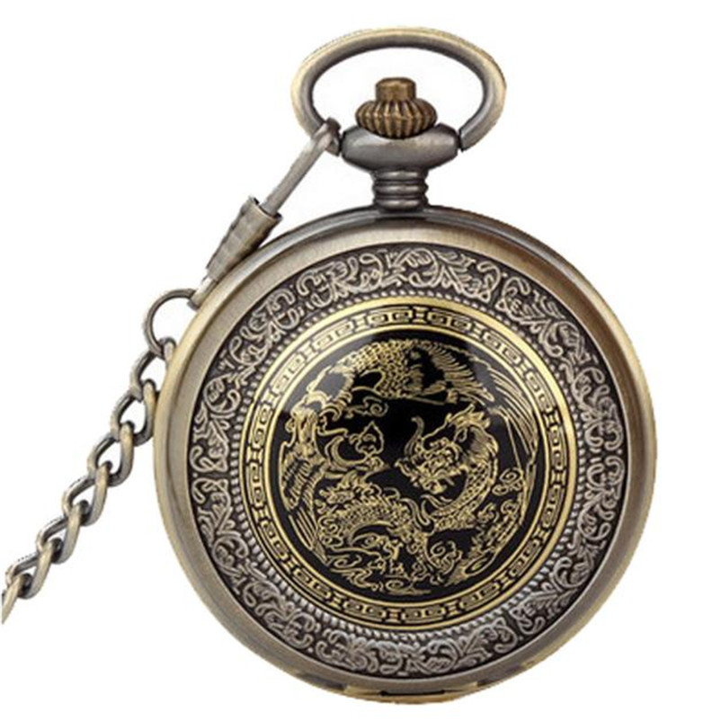 Pocket watch necklace Bronze Dragon Phoenix Quartz Pocket Watch Pendant Chain Necklace Erkek Kol Saati Dropshipping big g quartz pocket watch lot with metal pocket necklace leather chain box bag p446ckwb