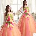 Rainbow longo vestido de ouro vestidos quinceanera sweet 16 vestido de baile vestidos de quinceaneras 2017 de organza baratos vestidos quinceanera