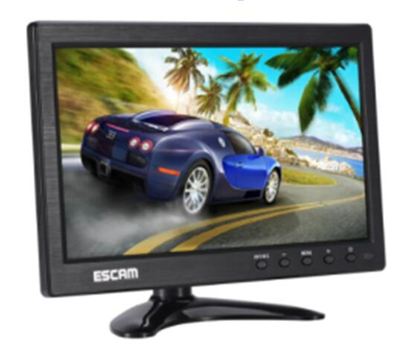 ESCAM Multi-language 10 Inch IPS LCD  CCTV Monitor VGA HDMI AV BNC USB Input escam t10 10 inch tft lcd remote color video monitor screen with vga hdmi av bnc usb for pc cctv home security system camera