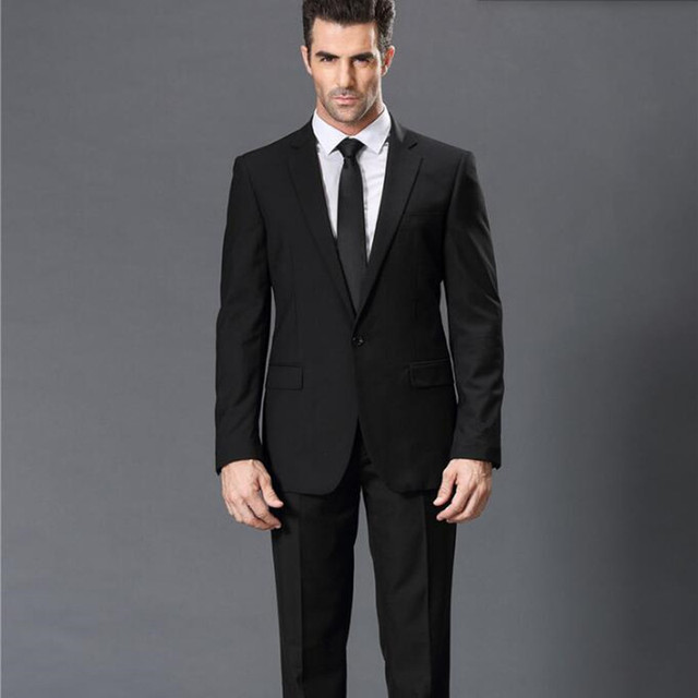 Aliexpress compre black men suits slim fit mens wedding black men suits slim fit mens wedding tuxedos suits tailor made solid color groom best man junglespirit Images
