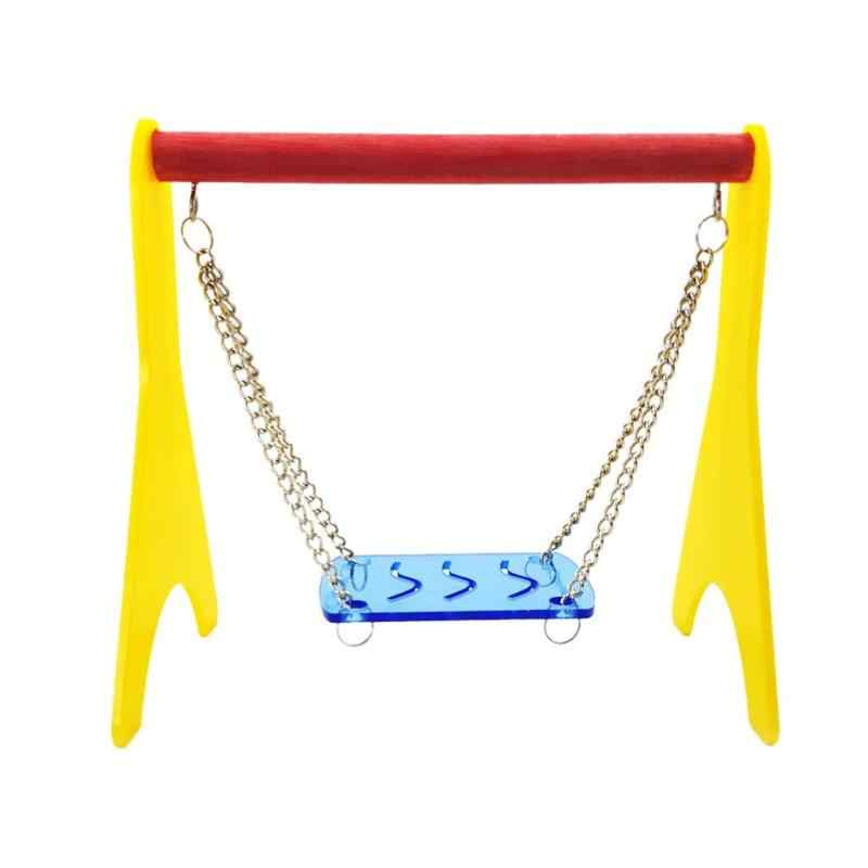 Colorful Plastic Hamster Toy Swing Hammock Elastic Parrot Bird Biting Toys Hanging Cage Hut Nest Bed Canary House Toy Supplies