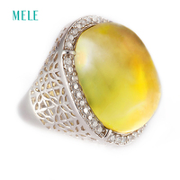 Natural Lemon Quarts Silver Ring Big Big Oval 16mm 22mm Cabochon Cutting Clean And Smooth Classical