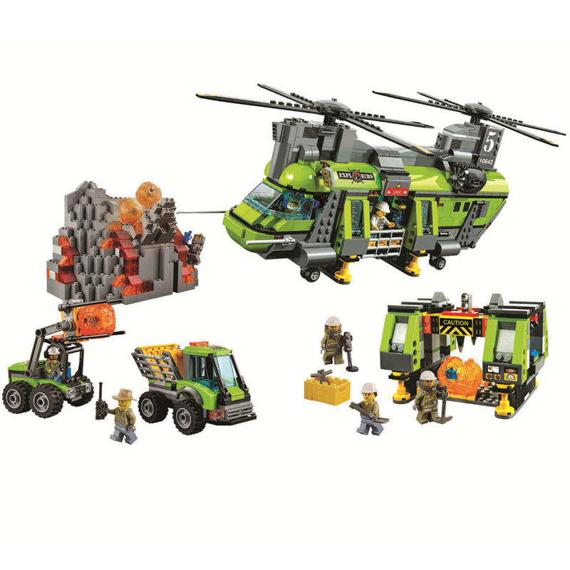 BELA City Volcano Heavy-Lift Helicopter Building Blocks Sets Bricks Kids Model Kids Toys Marvel Compatible Legoings 60125 hot city volcano heavy lift helicopter building block transporter truck forklift expedition figures bricks 60125 toys for gifts