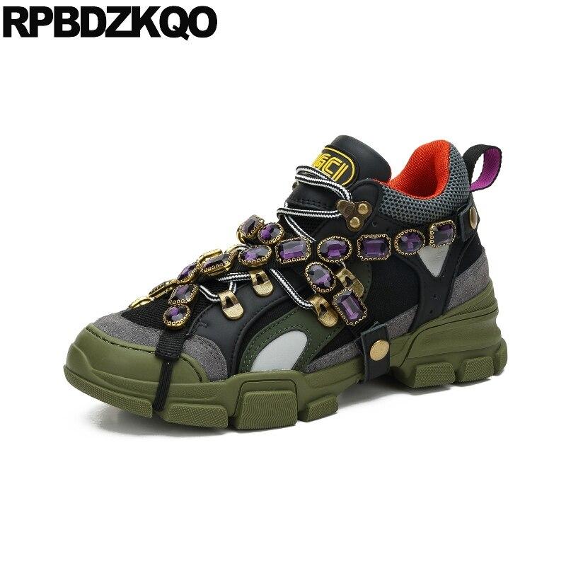 Женская роскошная дизайнерская обувь из сетчатого материала со стразами; китайские зеленые Итальянские кроссовки со стразами; кроссовки н