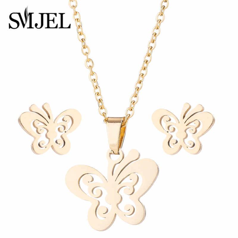 SMJEL Stainless Steel Mickey Necklace Women Jewelry Sets Bijoux Animal Butterfly Necklaces Pendants Cute Earrings Kids Gifts