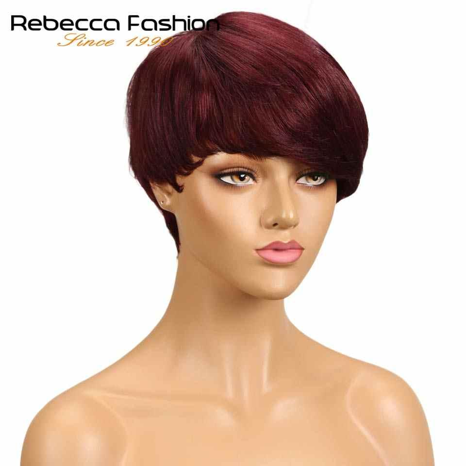Rebecca Maschine Gemacht Kurze Gerade Haar Perücke Peruanische Remy Menschenhaar Perücken Für Schwarze Frauen Braun Rot Mix Farbe Perücke freies Verschiffen